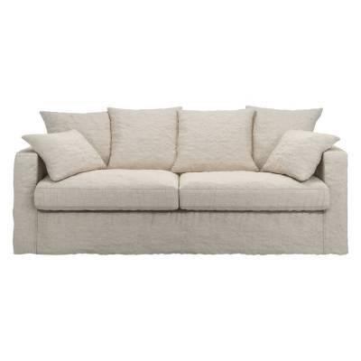 Canapé d'angle 4 places Blanc Tissu