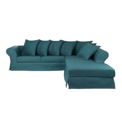 Canapé d'angle 4 places Noir Tissu