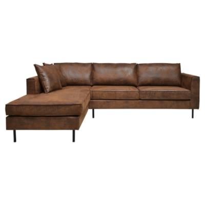 Canapé d'angle 4 places Noir Tissu Industriel Confort
