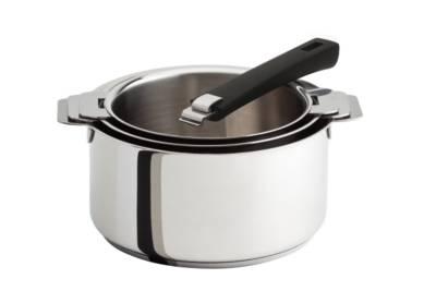 Set 3 casseroles CRISTEL Mutine+ poignée amovible noire