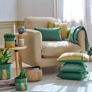 Plaid coton recyclé Charlie CAMIF EDITION, cactus
