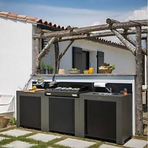 Cuisine d'extérieur en acier galvanisé  avec plancha Bergera 75, évier et plan