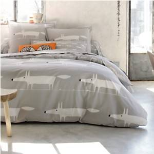 Housse de couette percale Mr Fox Gris  SCION LIVING