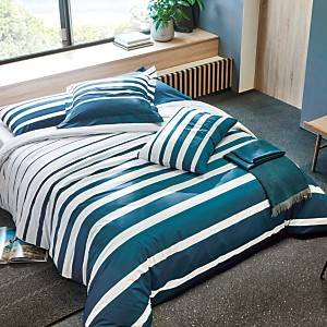 Parure de lit percale Grand Large BLANC DES VOSGES, bleu paon