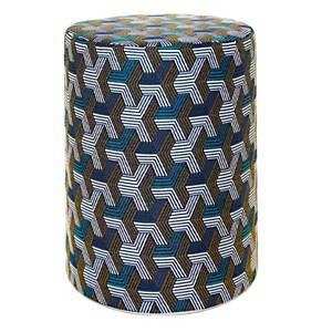 Pouf cylindrique Freddy Bleu/Or CAMIF
