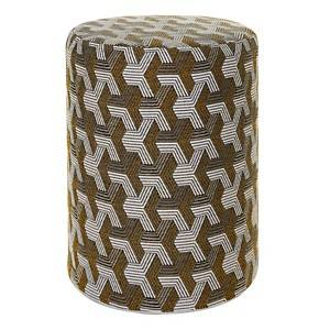 Pouf cylindrique Freddy Gris/Or CAMIF
