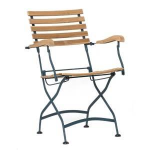 Lot de 2 fauteuils pliants en métal et teck
