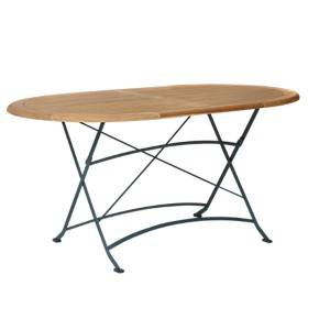 Table ovale pliante en métal et teck