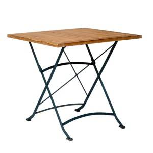 Table pliante en métal et teck
