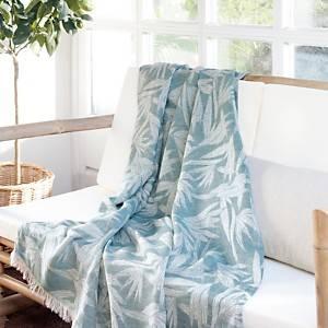 Plaid lin et coton Lana CAMIF, bleu