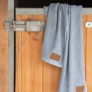 Lot de 2 serviettes de toilette jean recyclé Tobias Bleu acier, CAMIF