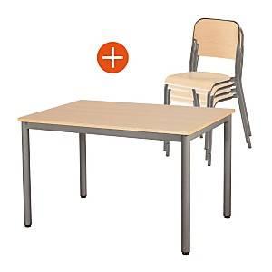 Ensemble table Carélie et 4 chaises  Trévise